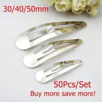 50pcs/lot Silver Metal Snap Prong Hair Clips for Hair Bow DIY Craft 30/40/50mm