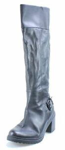 KENNETH COLE REACTION BOOTS SIZE 9.5 HEELS KNEE BLACK LEATHER $220