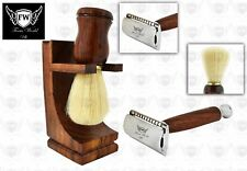 CLASSIC SHAVING KIT Pure Wood Badger Brush & Safety Razor Men GROMING  GIFT  SET