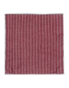 Brunello Cucinelli Red Striped Contrast Pattern Handkerchief/Pocket Square