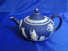 WEDGWOOD JASPERWARE Teapot & Lid in Cream Color on Wedgwood Blue