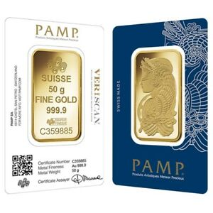 50 gram Gold Bar PAMP Suisse Lady Fortuna Veriscan .9999 Fine (In Assay)