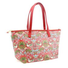 Large Red Floral 'Strawberry Thief' Design Tote Zipper Hand Bag 45cm x 28cm