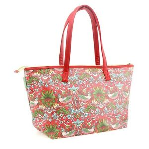 Large Red Oil Cloth Style Red Floral - Shopping Zipper Hand Bag Hold All