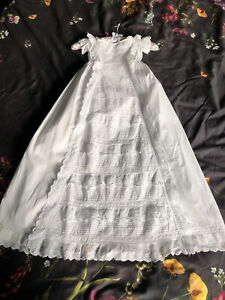 Antique Handmade Christening Baby/doll Gown White Cotton Broderie Angliase Lace