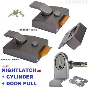 Night Latch Door Lock GREY Y 89 85 Rim Cylinder 3 Keys + DOOR PULL YALE replace