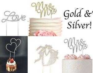 Rhinestone Crystal Mr & Mrs Silver Gold Wedding Cake Topper Love Heart Couple