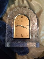 Mikasa Crystal Cathedral Mantle Clock With Etched Floral Design Made In Germany