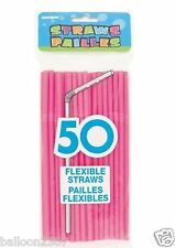50 Pink Flexible Drinking Straws Kids Party Summer Birthday Celebrations