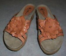 EARTHIES Womens Size 8M Orange Leather Strappy Platform Wedge Heels Open Toe