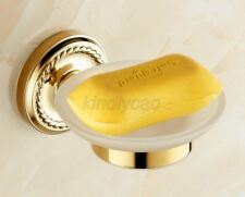 Luxury Gold Color Brass Wall Mounted Bathroom Glass Soap Dish Holder Kba612