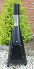 Garden Firepit Chimney - Log Burner Black Chimenea BBQ 125cm