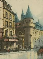 Bowey - Early 20th Century Etching, A Rainy Street Scene
