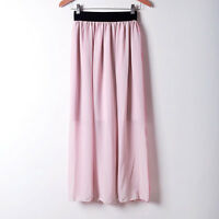 Women Double Layer Chiffon Pleated Retro Long Maxi Dress Elastic Waist Skirt Hot