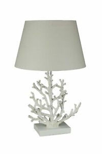 White and Gold Branch Coral Design Table Lamp With Matching Shade 21.5 Inch Tall