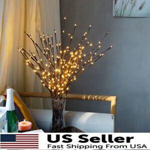 20 LED Willow Branch Lamp Floral Lights 20 Bulbs Home Christmas Fairy Decor USA