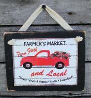 Farmers Market with Red Truck Farmhouse Primitive Rustic Handmade Wooden Sign