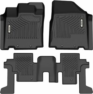 OEDRO Floor Mats Set TPE All-Weather Guard for 2013-2020 Nissan Pathfinder Black