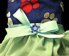 Blue and Green Doggie Dress with Satin Bow and Jeweled Crystal Ornamentation