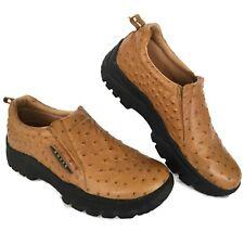 Roper Men Loafer 11 M Performance Sport Slip-On Tan Ostrich Emboss Leather Shoe