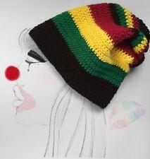 Womans Rasta Rastafari Crochet Slouchy Beanie Hat Black Green Yellow Red Knit