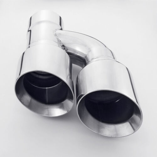 2 inch Inlet 3 Outlet Angle Cut Exhaust Tip Polished Stainless Steel Dual Wall