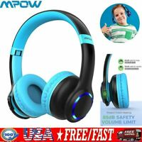 Mpow Wireless Wired LED Kids Headphones Over Ear Headphone Stereo Music Headsets