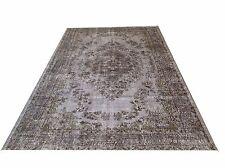 """9' 4"""" x 5'8""""    Vintage destressed light gray color reform Overdyed rug carpet"""