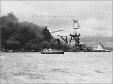 Photo: USS Arizona Sunk & Burning W/ Rescue Launch, Pearl Harbor, Dec 7th, 1941