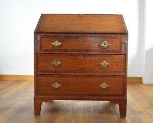 Antique Georgian inlaid oak bureau / writing desk