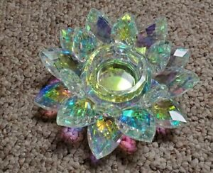 Crystal Glass Rainbow Lotus Candle Holder