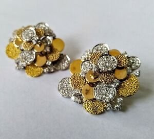 1970's Abstract Gold & Diamond Bubble Disc Earrings - 2.50cts