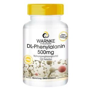 DL-Phenylalanin 500 mg - 100 Tabletten, essentielle Aminosäure, vegan | Warnke