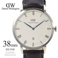 Daniel Wellington Men's Dapper Sheffield 38mm Silver Leather Band Watch 1121DW