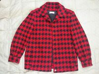 Vintage Womens Pendleton Hounds Tooth Jacket Size 12 Red Black Wool Button USA