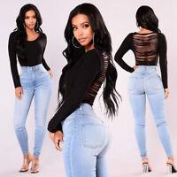 Women's High Waist Jeans Stretch Skinny Pencil Pants Denim Slim Trousers