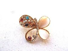 Butterfly Brooch Multi Colored Rhinestones and Glass Faux Mother of Pearl