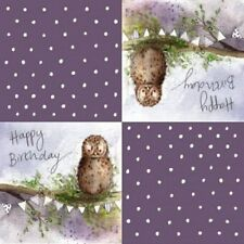 20 x Table Paper Napkin/Dining/Decoupage/Craft/Vintage/Happy Birthday/Owl