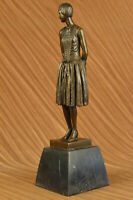 Hand Made Real Sculpture BRONZE Art Nouveau LADY Old VICTORIAN Style STATUE