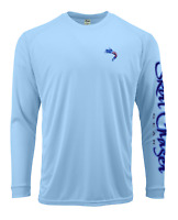 Men's Long Sleeve Carolina Blue USA UPF 50+ Microfiber Performance Fishing Shirt