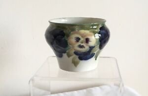 """Antique Macintyre W.Moorcroft signed Pottery Tube Lined """"Pansies"""" Sugar Bowl"""