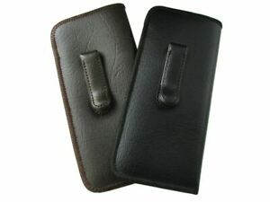 Mens Soft Slip-In Eyeglass Case w/Metal Clip PU.Leather Medium-Lg Black or Brown