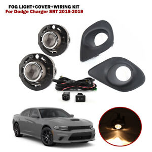 Fog Light Lamp+Cover+Wiring Switch For Dodge Charger SRT 2015-2019 Halogen Bulbs