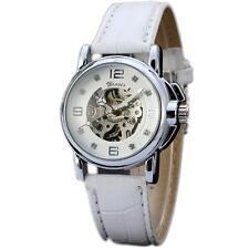 Luxury Dress White Leather Band Skeleton Women Automatic Mechanical Wrist Watch