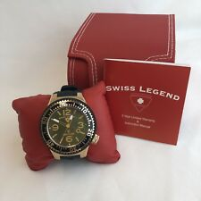 Swiss Legend Men's Neptune Dive Goldtone Watch Mother of Pearl Face New Battery
