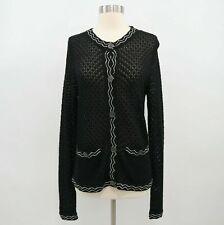 Missoni Cardigan Sweater Womens M Black White Ajour Knit Crew Neck For Target