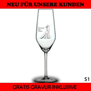 Sektglas mit Gravur Personalsiert Geschenk Hochzeit Junggesellinabschied Party ❤