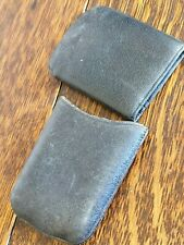 antique black leather CALLING CARD WALLET PURSE