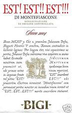 Etichetta Vino Est Est Est di Montefiascone (Viterbo) Bigi .