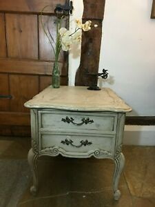 Neutral painted French style bedside - side table
